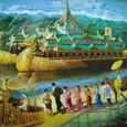 ヤンゴン:カラウェイの船絵